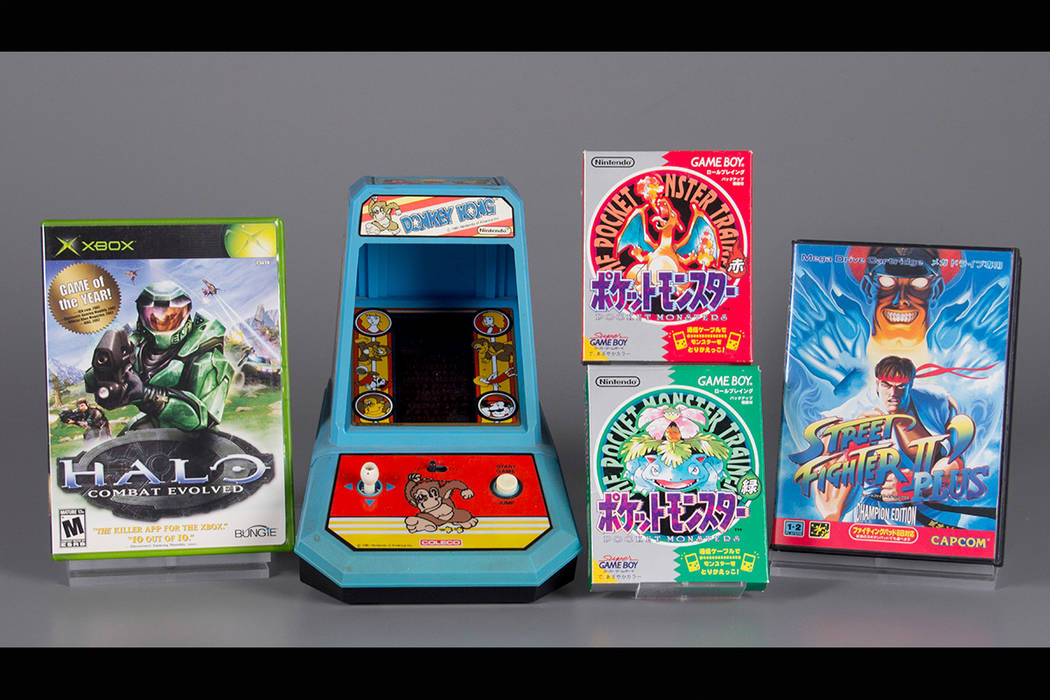 "The four inductees for the 2017 class of the World Video Game Hall of Fame. From left to right are: ''Halo: Combat Evolved,"" ""Donkey Kong,"" ""Pokemon Red and Green,"" and ''Street Fighter II."" (Beth ..."