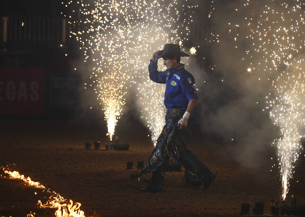 Ryan Dirteater is introduced during the Professional Bull Riders Last Cowboy Standing event at Las Vegas Village in in Las Vegas on Saturday, May 13, 2017. Chase Stevens Las Vegas Review-Journal @ ...