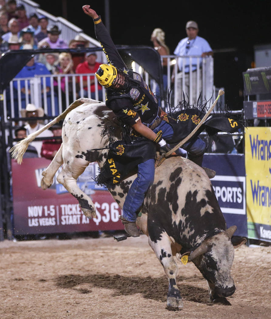 Silvano Alves rides Hammer Down during the Professional Bull Riders Last Cowboy Standing event at Las Vegas Village in Las Vegas on Saturday, May 13, 2017. Chase Stevens Las Vegas Review-Journal @ ...