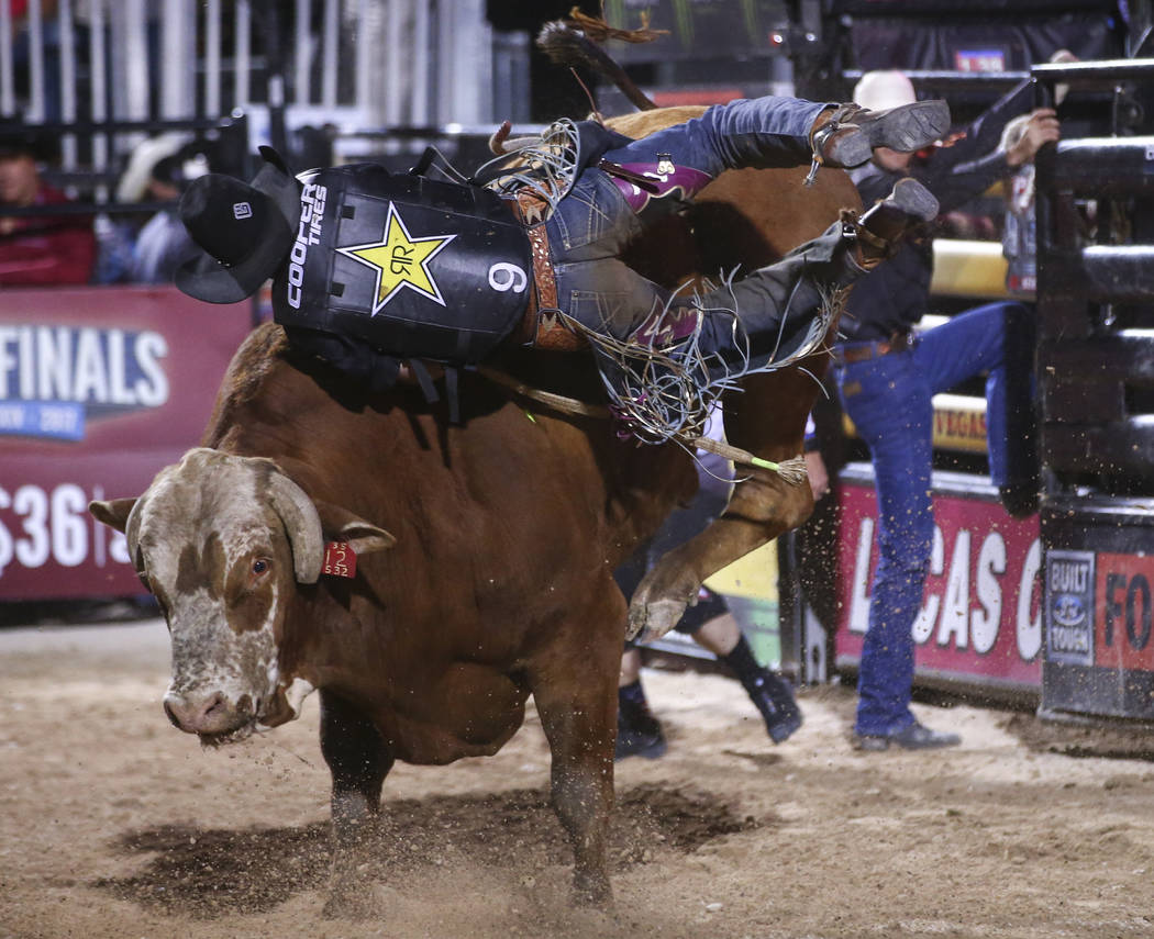 Fabiano Vieira rides High Chaparral during the Professional Bull Riders Last Cowboy Standing event at Las Vegas Village in Las Vegas on Saturday, May 13, 2017. Chase Stevens Las Vegas Review-Journ ...
