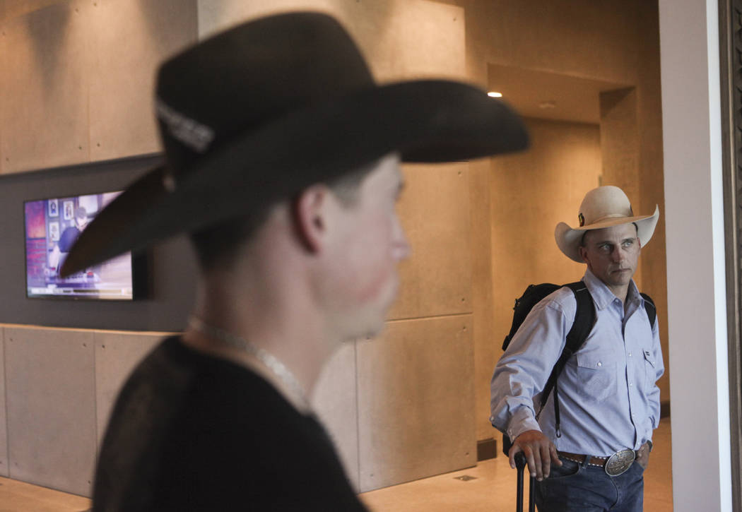 Professional Bull Riders bullfighters Cody Webster, left, and Frank Newsom arrive to film a promotional advertisement for sponsor Matador Jerky at UFC's corporate headquarters in Las Vegas on Frid ...