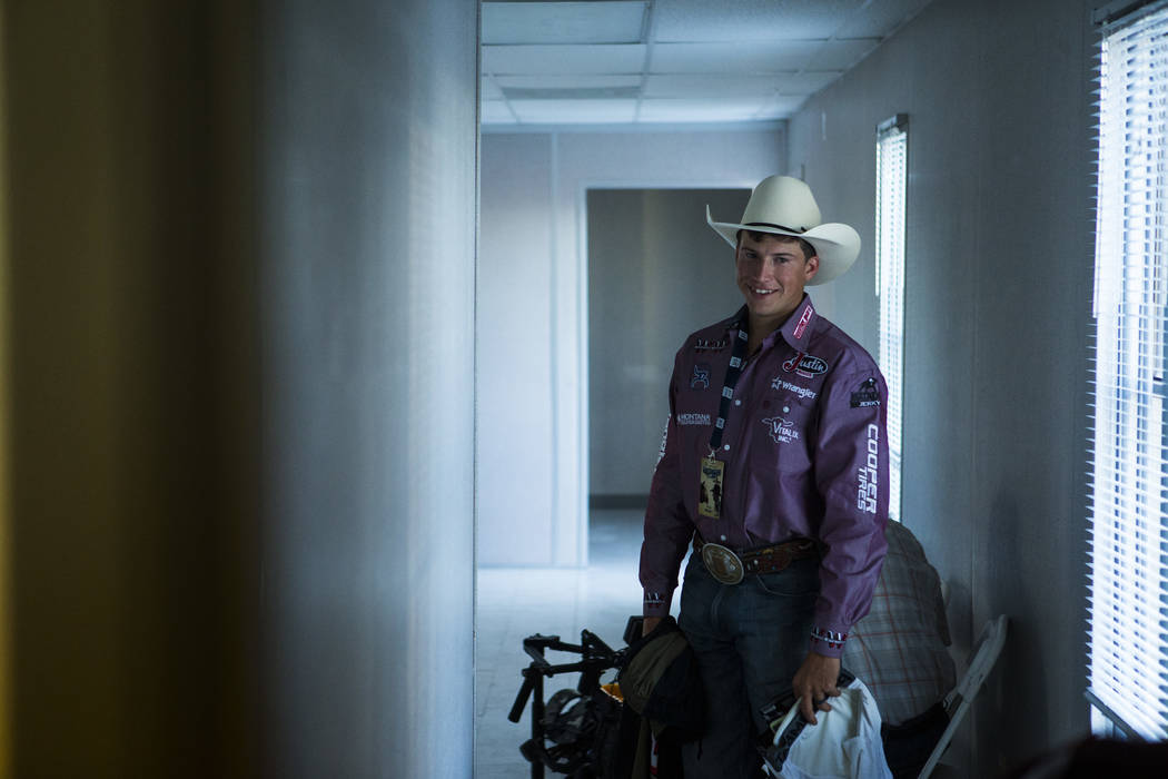 Professional Bull Riders bullfighter Cody Webster prepares for the Last Cowboy Standing event at Las Vegas Village in Las Vegas on Friday, May 12, 2017. Chase Stevens Las Vegas Review-Journal @css ...