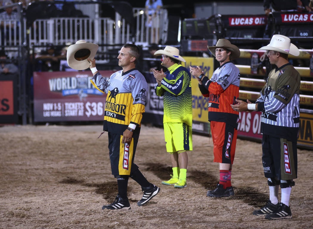 Professional Bull Riders bullfighter Frank Newsom is introduced during the Last Cowboy Standing event at Las Vegas Village in Las Vegas on Friday, May 12, 2017. Chase Stevens Las Vegas Review-Jour ...