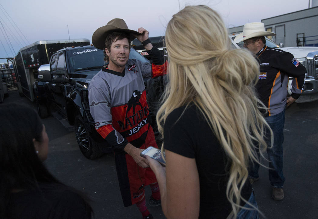 "Professional Bull Riders bullfighter Seth ""Shorty"" Gorham greets fans during the Last Cowboy Standing event at Las Vegas Village in Las Vegas on Friday, May 12, 2017. Chase Steve ..."
