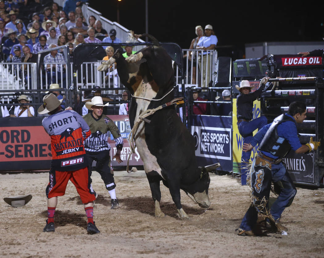 "Professional Bull Riders bullfighters Seth ""Shorty"" Gorham, left, and Cody Webster distract Dantastic during the Last Cowboy Standing event at Las Vegas Village in Las Vegas on F ..."