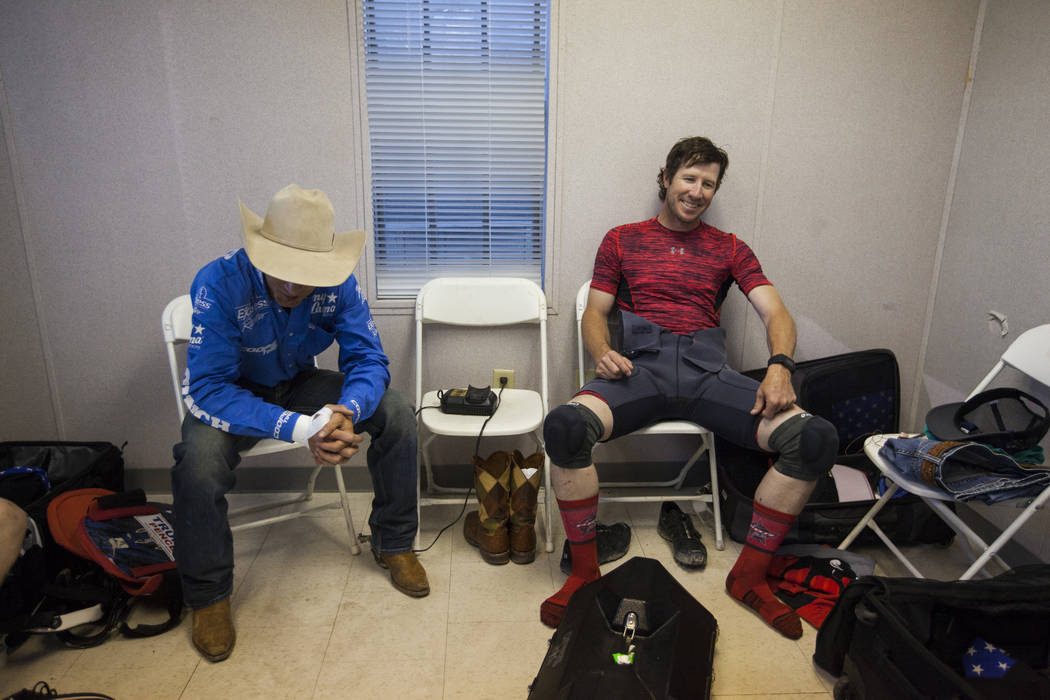 "Professional Bull Riders bullfighter Seth ""Shorty"" Gorham, right, before the Last Cowboy Standing event at Las Vegas Village in Las Vegas on Friday, May 12, 2017. Chase Stevens L ..."