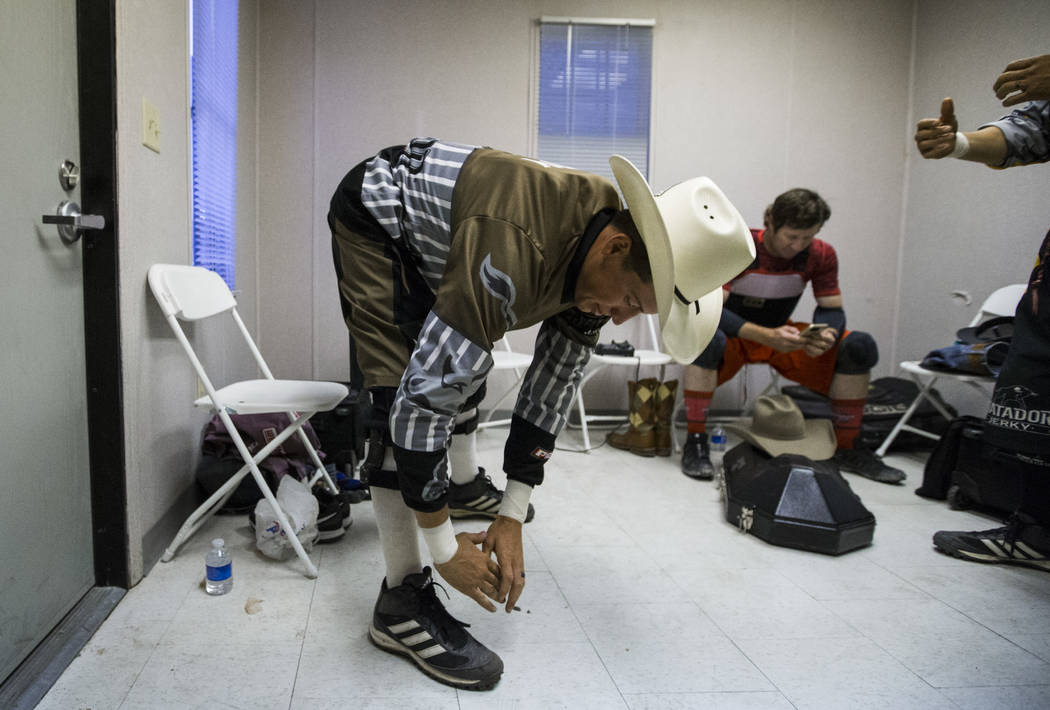 Professional Bull Riders bullfighter Cody Webster gets ready for the Last Cowboy Standing event at Las Vegas Village in Las Vegas on Friday, May 12, 2017. Chase Stevens Las Vegas Review-Journal @c ...