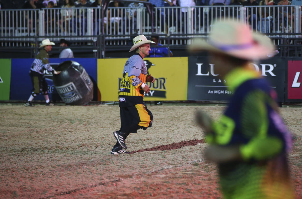 Professional Bull Riders bullfighter Frank Newsom warms up at the start of the Last Cowboy Standing event at Las Vegas Village in Las Vegas on Friday, May 12, 2017. Chase Stevens Las Vegas Review- ...