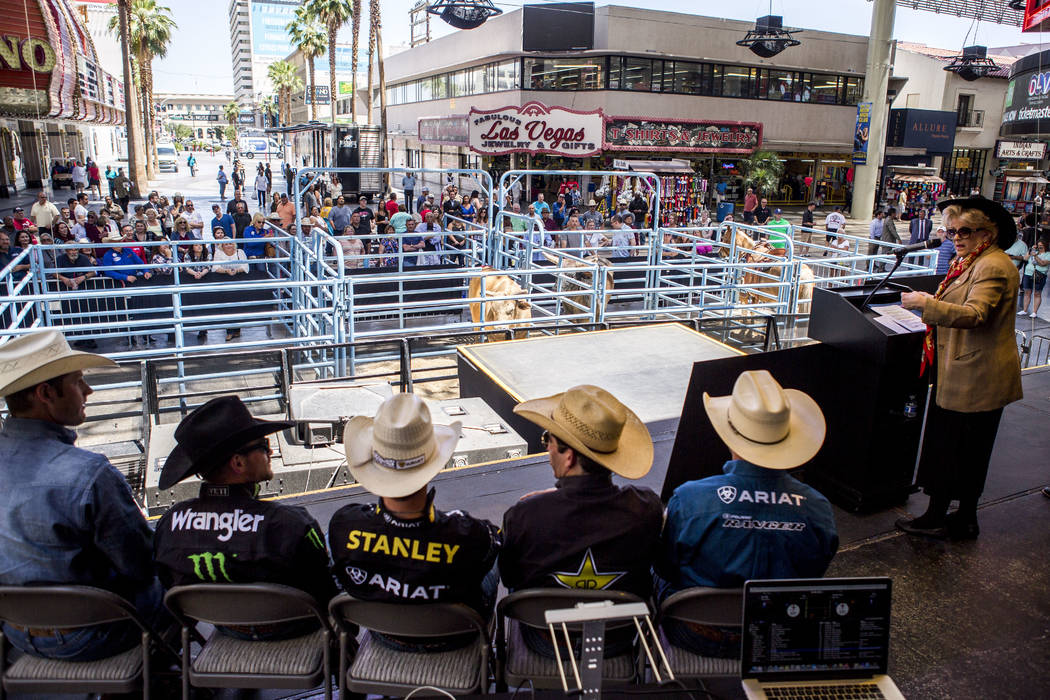 Professional Bull Riders sit during a press conference at the Freemont Street Experience 3rd Street Stage in Las Vegas on Thursday, May 11, 2017. Patrick Connolly Las Vegas Review-Journal @PConnPie