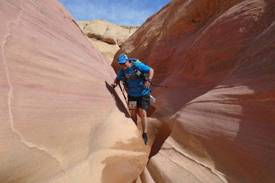 Carl Bahr of Henderson navigates the slot canyons of stage 3 of the Vegas Valley Voyage, which took place May 13-18, 2016 in the Mojave Desert. (Joyce Forier)