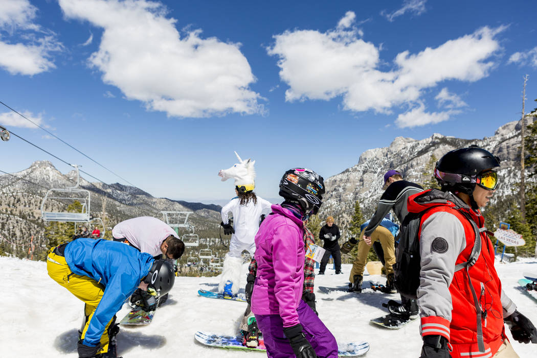Boarders prepare to ride down a slope at Lee Canyon in celebration of the final day of the 2016-17 season, in Las Vegas, Sunday, April 2, 2017. (Elizabeth Brumley/Las Vegas Review-Journal) @EliPag ...