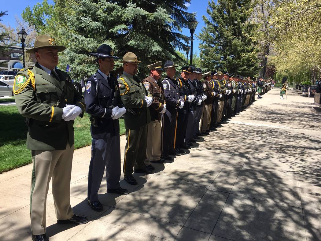 Officers from around the state participate in the 2017 Nevada Law Enforcement Officers Memorial Ceremony, Thursday, May 4, 2017, in Carson City. (Sean Whaley/Las Vegas Review-Journal)