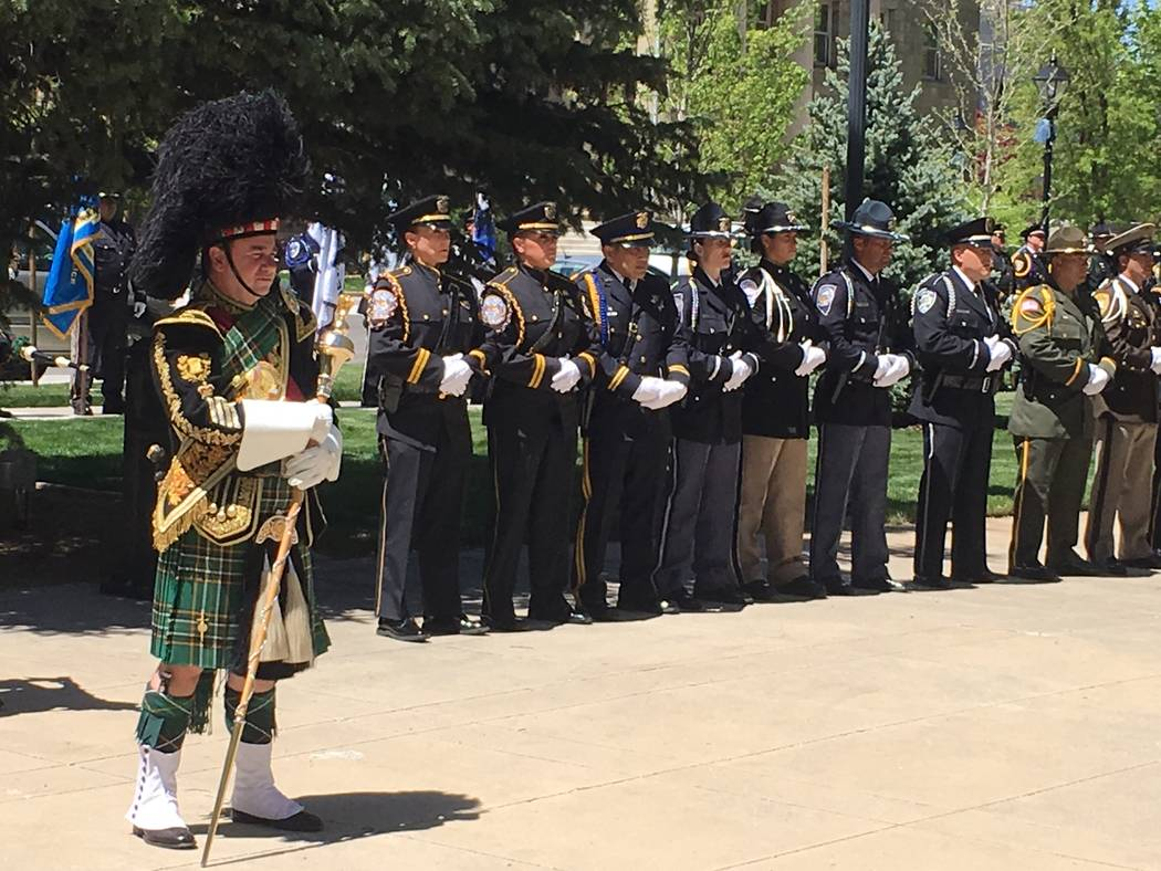 Pipers were part of the 2017 Nevada Law Enforcement Officers Memorial Ceremony, Thursday, May 4, 2017, in Carson City. (Sean Whaley/Las Vegas Review-Journal)