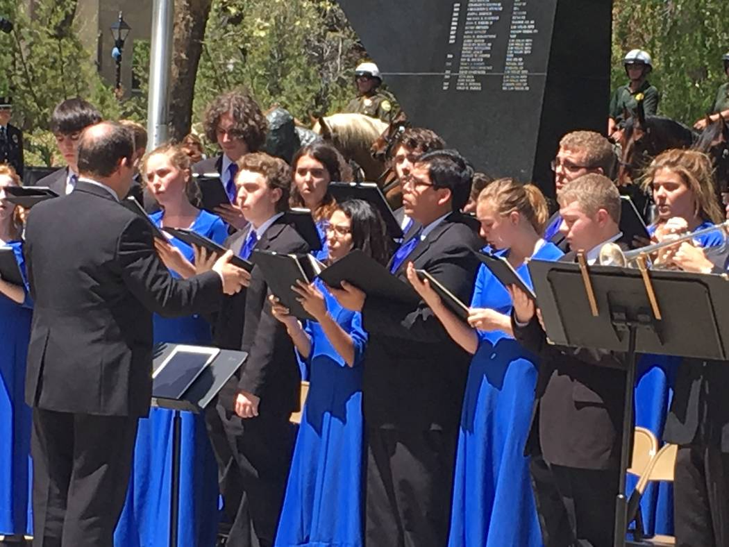 The Carson City High School Chamber Choir performed at the 2017 Nevada Law Enforcement Officers Memorial Ceremony, Thursday, May 4, 2017, in Carson City.  (Sean Whaley/Las Vegas Review-Journal)