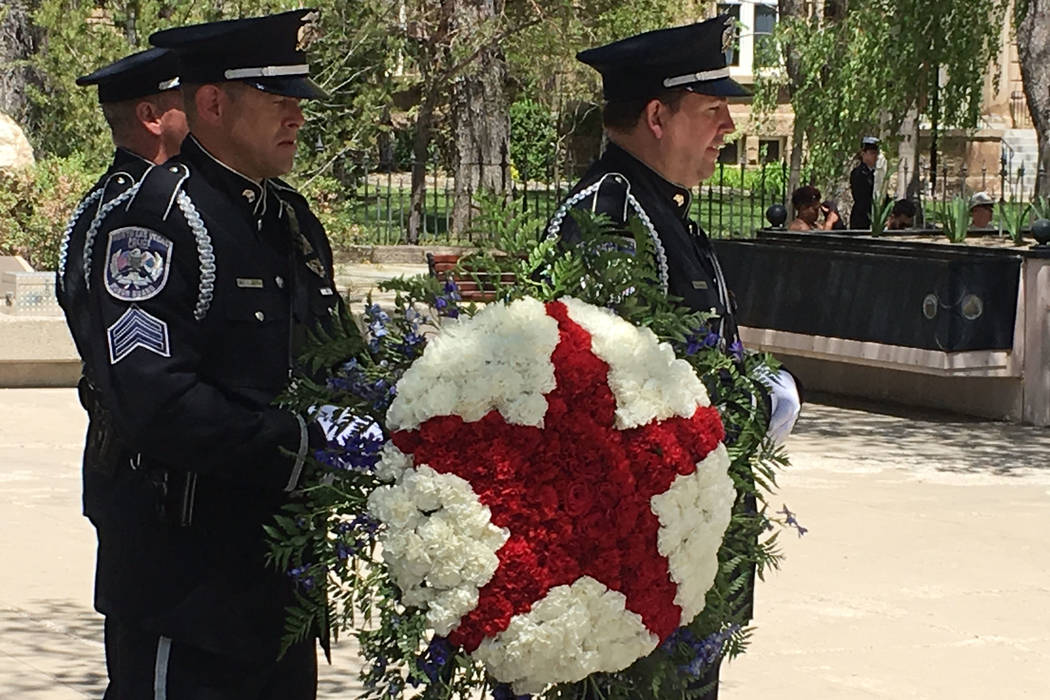 A wreath was ready to be placed on the  Law Enforcement Officers Memorial at a ceremony Thursday, May 4, 2017, in Carson City. Sean Whaley Las Vegas Review-Journal