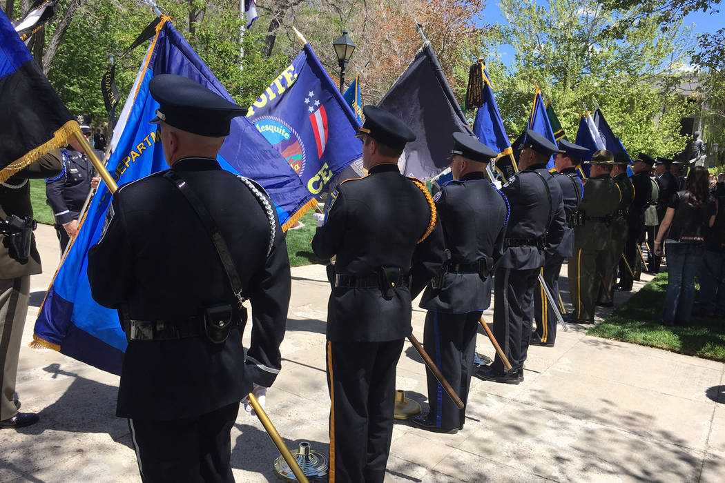 Flags representing Nevada's many law enforcement agencies wave in the breeze Thursday, May 4, 2017, at the Law Enforcement Officers Memorial ceremony in Carson City. (Sean Whaley/Las Vegas Review- ...