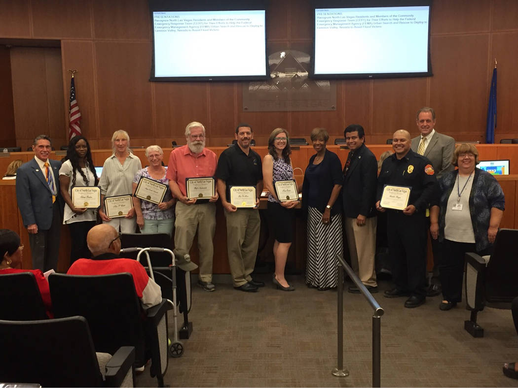 "CERT members and Emergency Management personnel pose with city council members after proclamation of ""CERT Day"" May 3 at the North Las Vegas City Hall, 2250 N. Las Vegas Blvd. Courtesy of Delen Go ..."