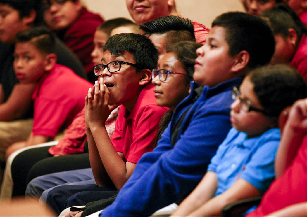 "Fifth graders from C.P. Squires Elementary School attend a mock trial as a part of the ""Kids in the Court"" program at the North Las Vegas Justice Court on Tuesday, May 9, 2017. P ..."