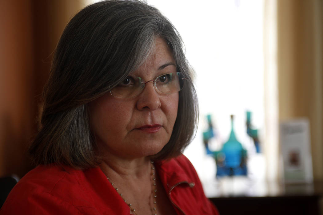 Terri Miller talks to the Review-Journal about preventing educator sexual abuse at her home on Monday, April 24, 2017, in Las Vegas. Miller is the president of SESAME, or Stop Educator Sexual Abus ...