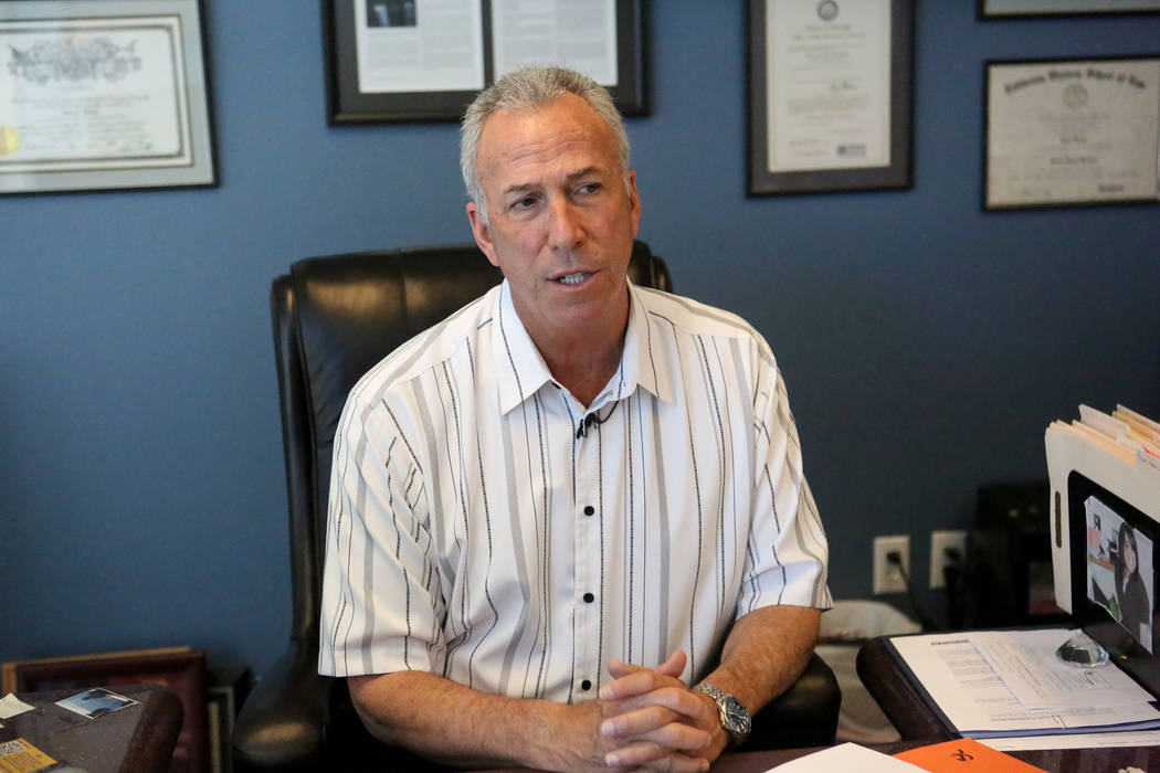 In his office at the Regional Justice Center in downtown Las Vegas on Friday, May 5, 2017, Clark County District Attorney, Steve Wolfson, discusses the Clark County School District's response to ...