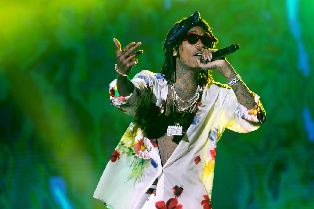 Artist Wiz Khalifa performs during a concert at the annual Mawazine Music Festival in Rabat, Morocco, Saturday May 13, 2017. (AP Photo/Abdeljalil Bounhar)