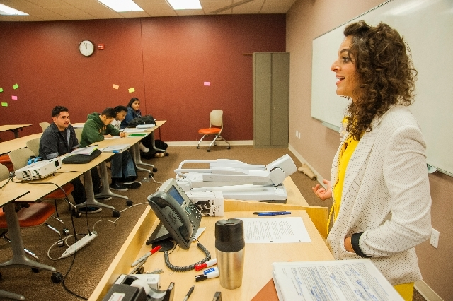 Leila Pazargadi, assistant professor of English, teaches students in the Nepantla Program at Nevada State College. It aims to empower first-generation, low-income, underserved and underrepresented ...