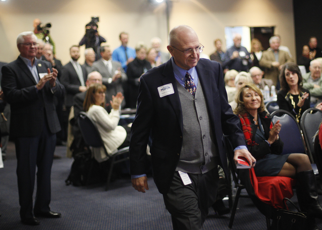 Nevada State Sen. Joe Hardy walks to the stage at a campaign launch event for Henderson City Councilwoman Debra March for her bid for mayor of Henderson at the Henderson Convention Center on Thurs ...