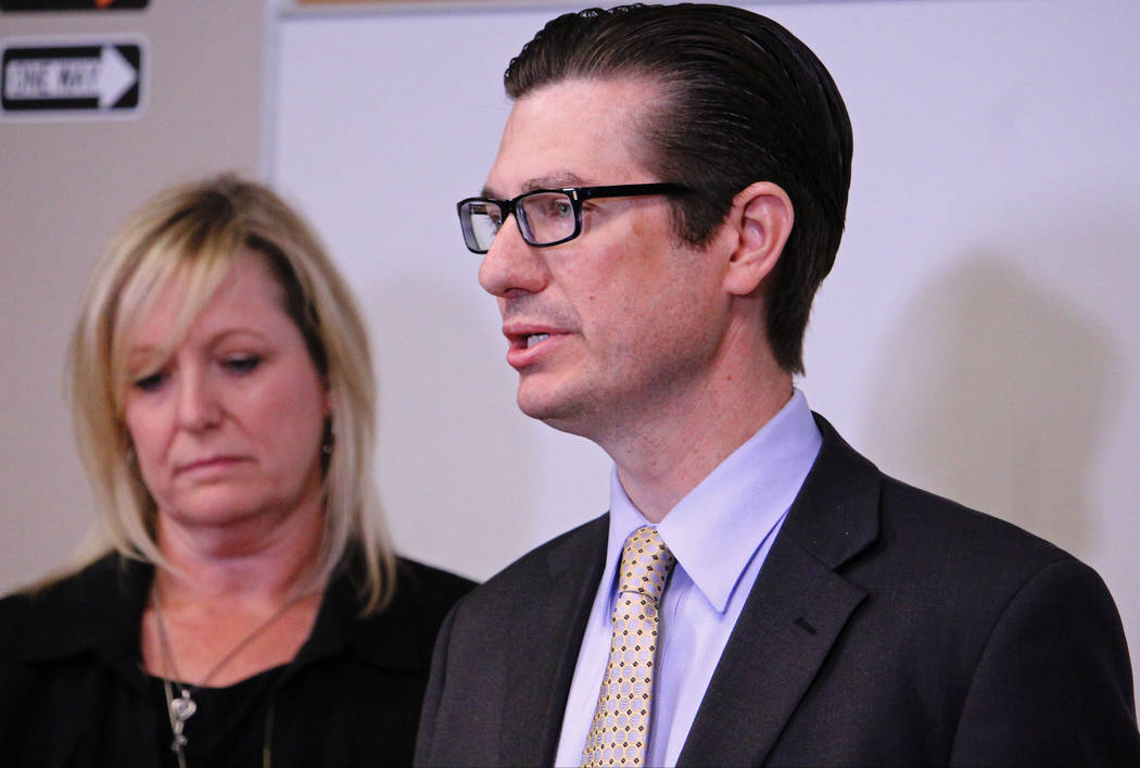CCSD officials Shannon Evans, left, and Dr. Mike Barton, answer questions about the bus crash Thursday that left one person dead and 14 students and the bus driver injured on Friday, May 5, 2017.  ...