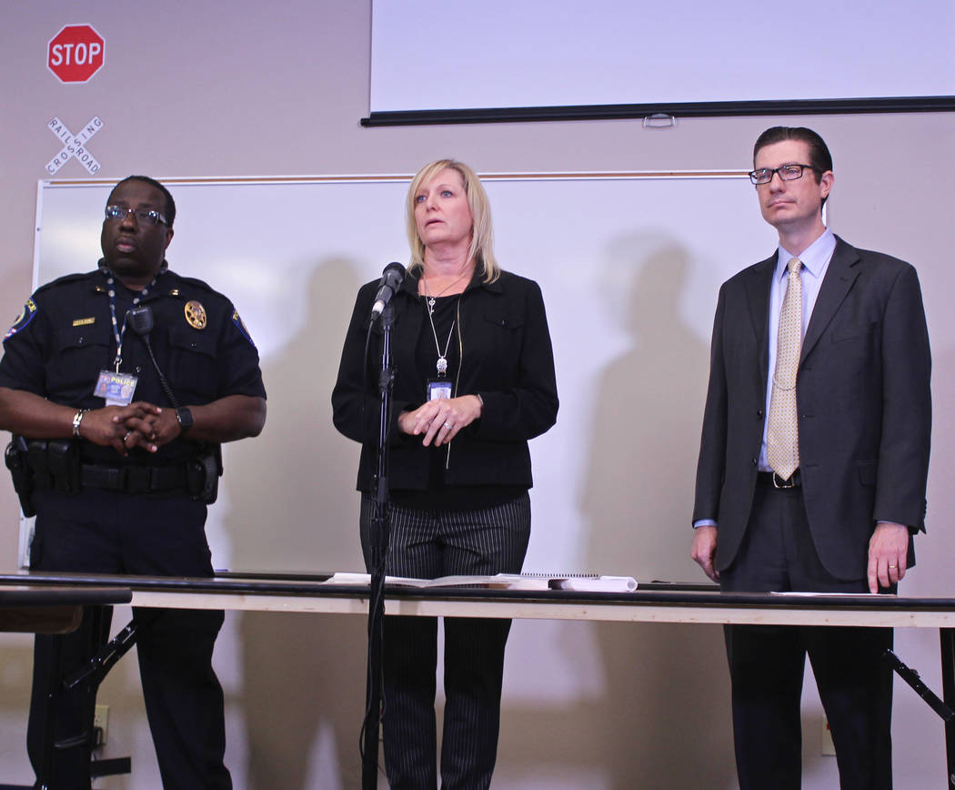Capt. Ken Young, left, and CCSD officials Shannon Evans and Dr. Mike Barton, answer questions about the Thursday bus crash that injured 15 students on Friday, May 5, 2017. Gabriella Benavidez Las  ...
