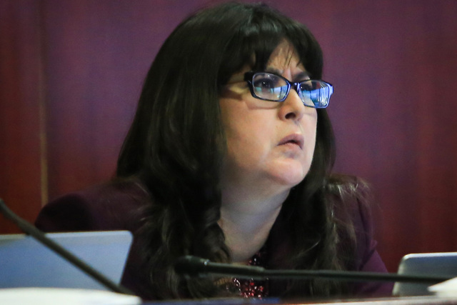 Assemblywoman Irene Bustamante Adams participates in a legislative committee meeting at the Grant Sawyer State Office Building on Friday, Jan. 27, 2017, in Las Vegas. (Brett Le Blanc/Las Vegas Rev ...