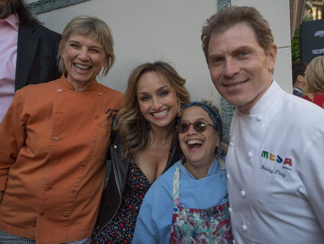 Mary Sue Milliken, Giada de Laurentiis, Susan Feniger and Bobby Flay attend The Grand Tasting at Vegas Uncork'd by Bon Appetit at Garden of the Gods Pool Oasis at Caesars Palace on Friday, April 2 ...