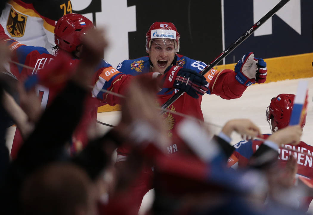 Russias Vadim Shipachyov celebrates his goal with teammates during the Ice Hockey World Championships quarterfinal match between Russia and Germany, in Moscow, Russia, on Thursday, May 19, 2016. ( ...