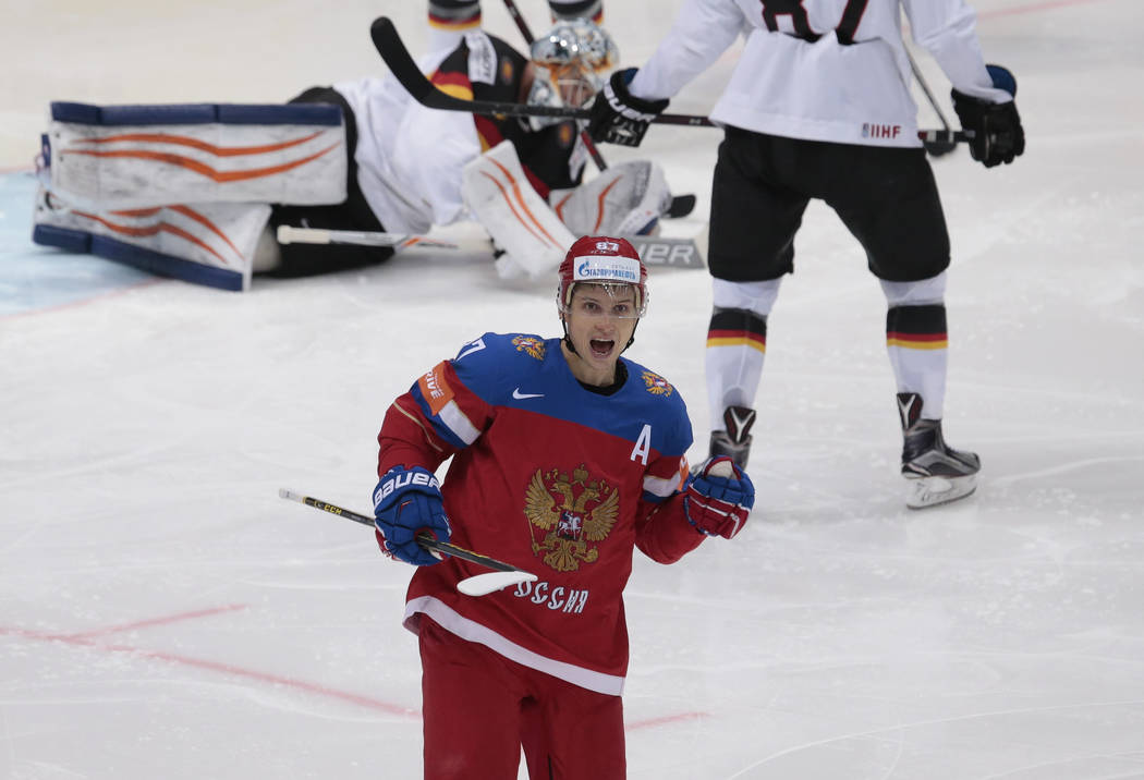 Russias Vadim Shipachyov celebrates his second goal during the Ice Hockey World Championships quarterfinal match between Russia and Germany, in Moscow, Russia, on Thursday, May 19, 2016. (AP Photo ...