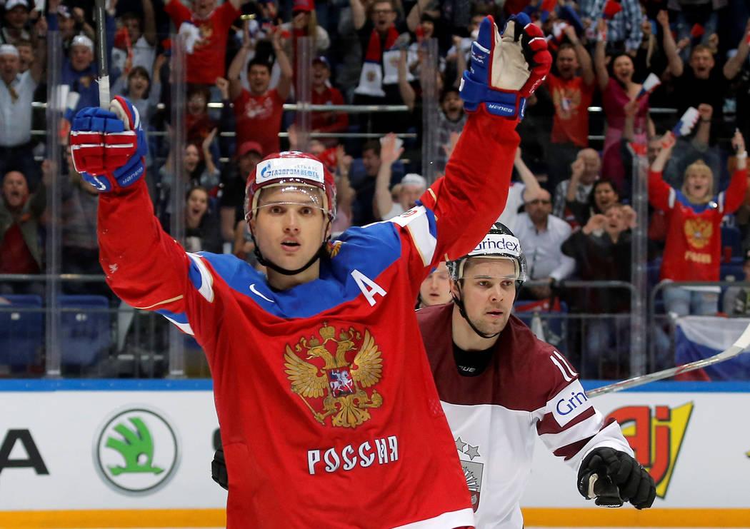 Ice Hockey - 2016 IIHF World Championship - Group A - Latvia v Russia - Moscow, Russia - 9/5/16 - Russia's Vadim Shipachyov celebrates a score against Latvia.  REUTERS/Maxim Shemetov - RTX2DJ10