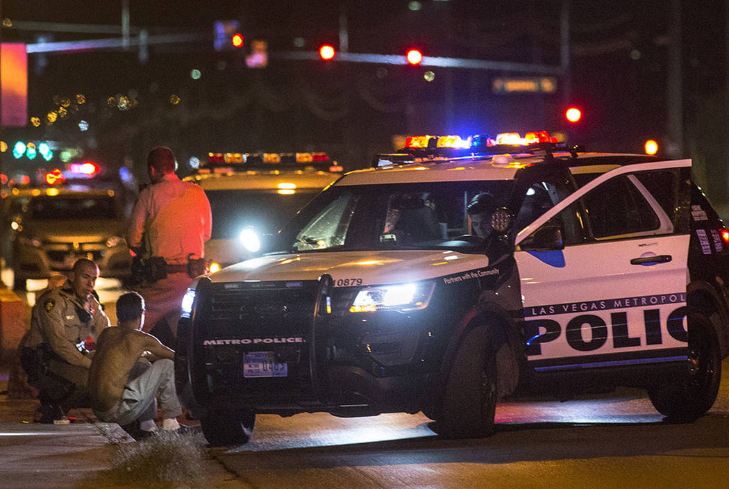 Officers are present at the scene of a shooting near the intersection of Owens Avenue and Pecos Road on Thursday, May 4, 2017, in North Las Vegas. (Bridget Bennett Las Vegas Review-Journal)