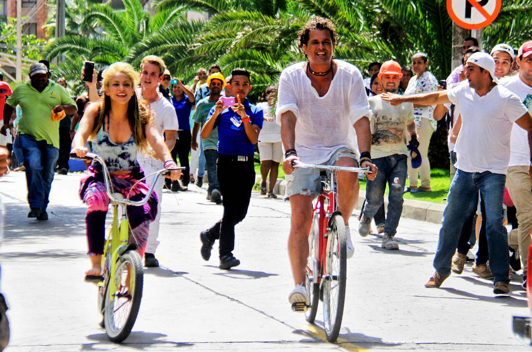 "Shakira and Carlos Vives appear in the video for their award-winning global hit ""La Bicicleta."" (Courtesy)"