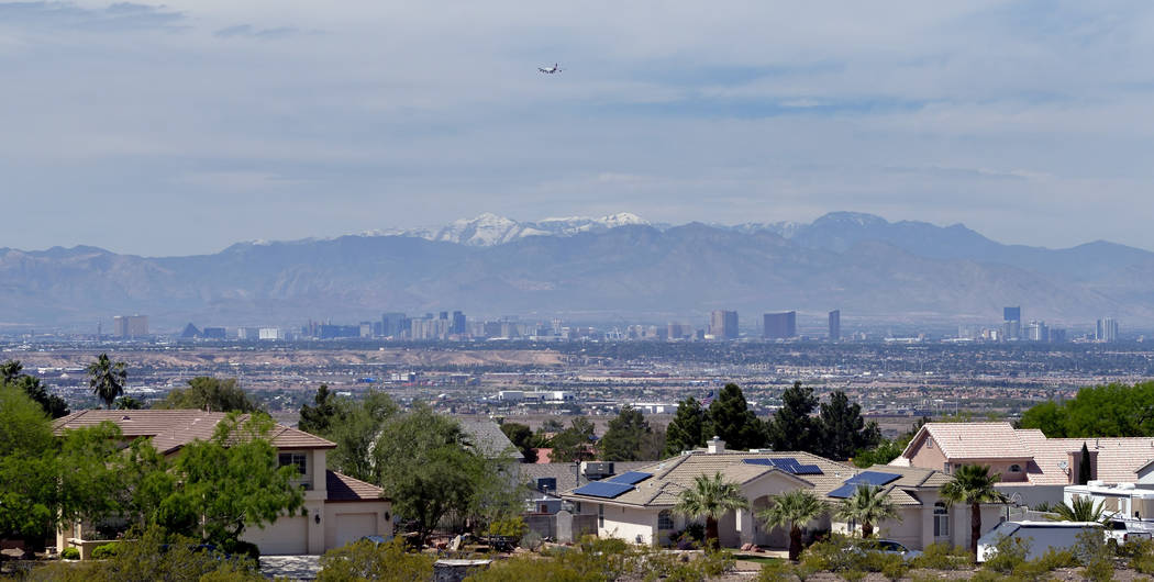 The view from the second-story deck of a custom home built by designer and owner Aeron Tozier is shown at 328 N. Lisbon St. in Henderson on Thursday, April 6, 2017. (Bill Hughes/Las Vegas Business ...