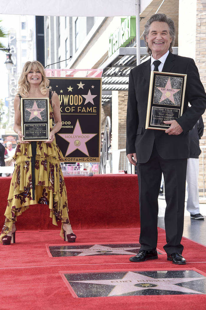 Goldie Hawn and Kurt Russell attend a ceremony honoring the couple with stars on the Hollywood Walk of Fame on Thursday, May 4, 2017, in Los Angeles. (Richard Shotwell/Invision/AP)