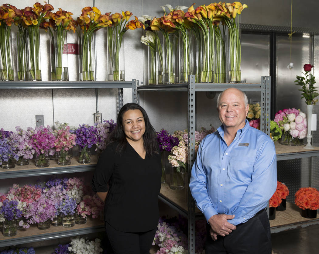 Wynn Las Vegas floral manager Evelyn Herrera, left, and director of horticulture Gary Cramer, at Wynn Las Vegas on Tuesday, May 9, 2017, in Las Vegas. Erik Verduzco/Las Vegas Review-Journal Follow ...