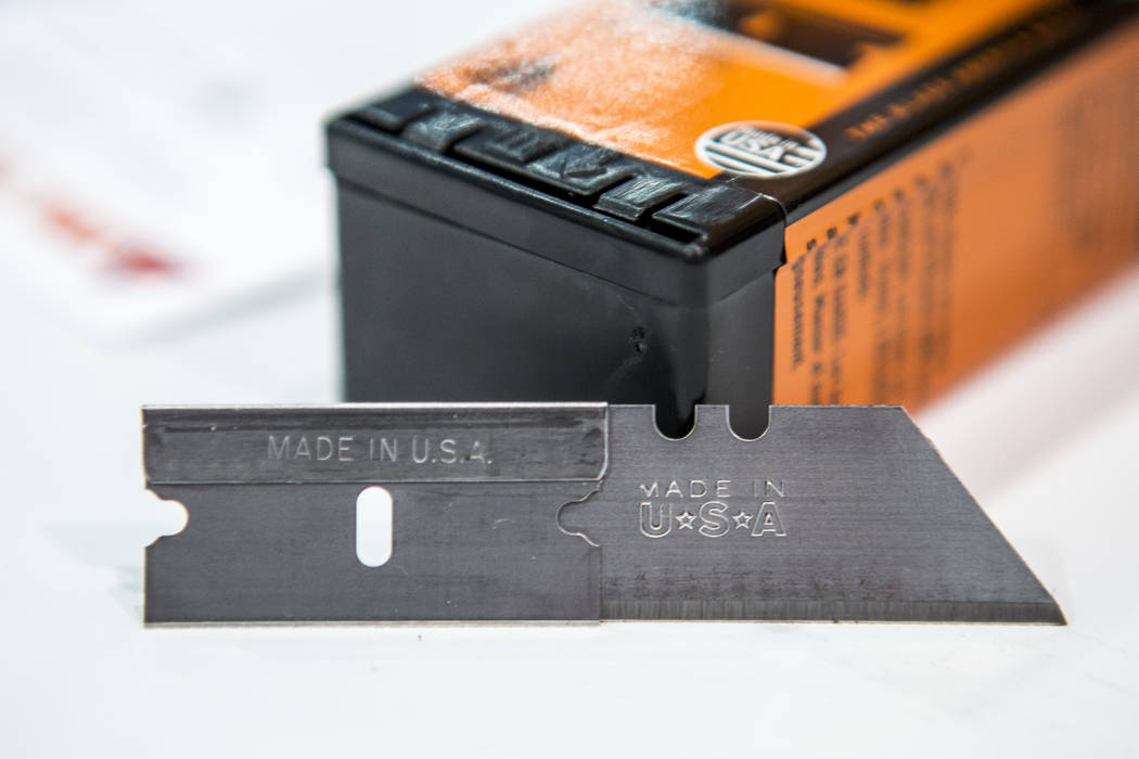 Techni Edge blades, made by IDL Tools, are displayed at National Hardware Show at Las Vegas Convention Center on Wednesday, May 10, 2017. The company makes their products in the USA. Patrick Conno ...