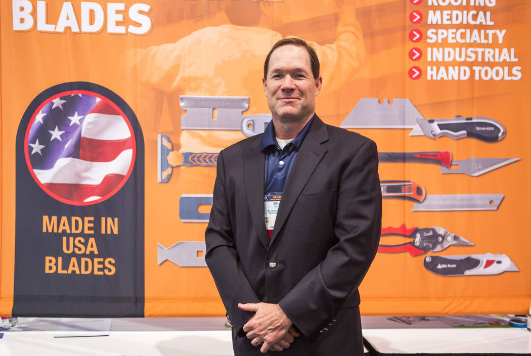 Sean Quinn, President, CEO and owner of IDL Tools, stands for a portrait in front of a banner at National Hardware Show at Las Vegas Convention Center on Wednesday, May 10, 2017. The company makes ...