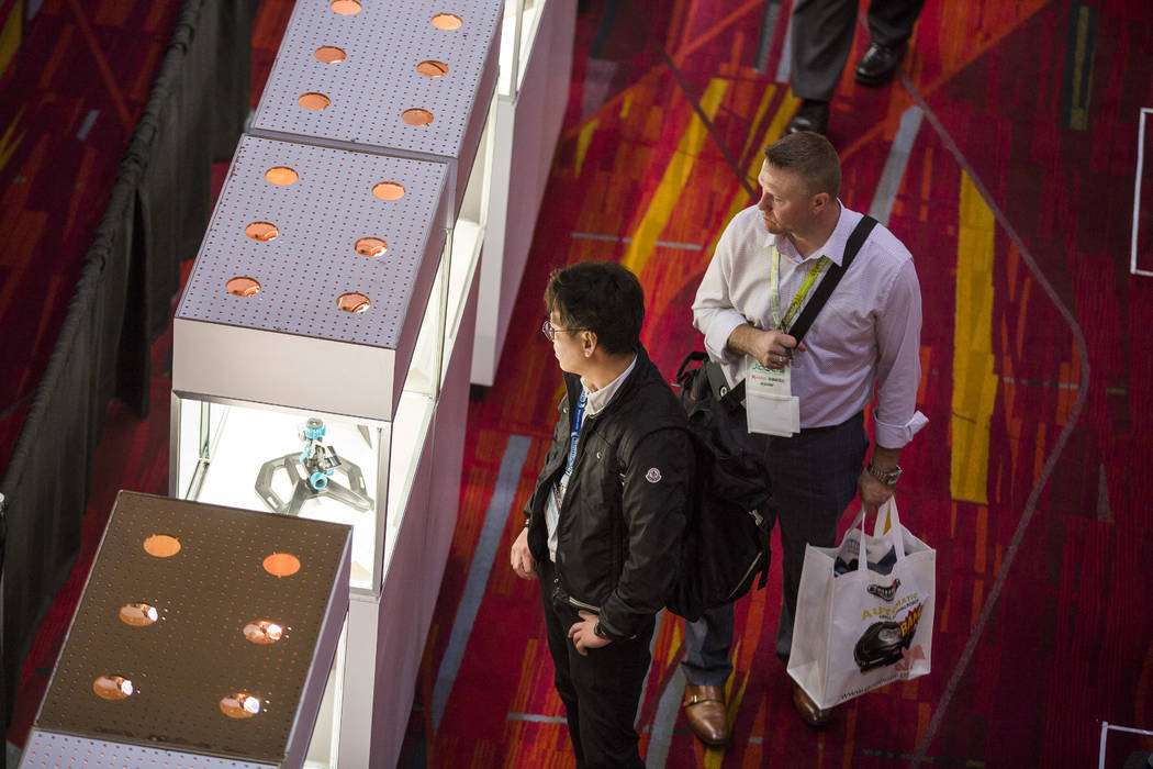 Attendees of the National Hardware Show browse new products at Las Vegas Convention Center on Wednesday, May 10, 2017. Patrick Connolly Las Vegas Review-Journal @PConnPie