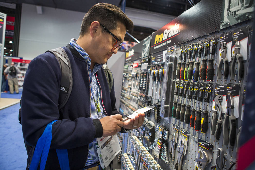 Kurtis Nam of Vernon, California, browses tools at the National Hardware Show at Las Vegas Convention Center on Wednesday, May 10, 2017. Patrick Connolly Las Vegas Review-Journal @PConnPie