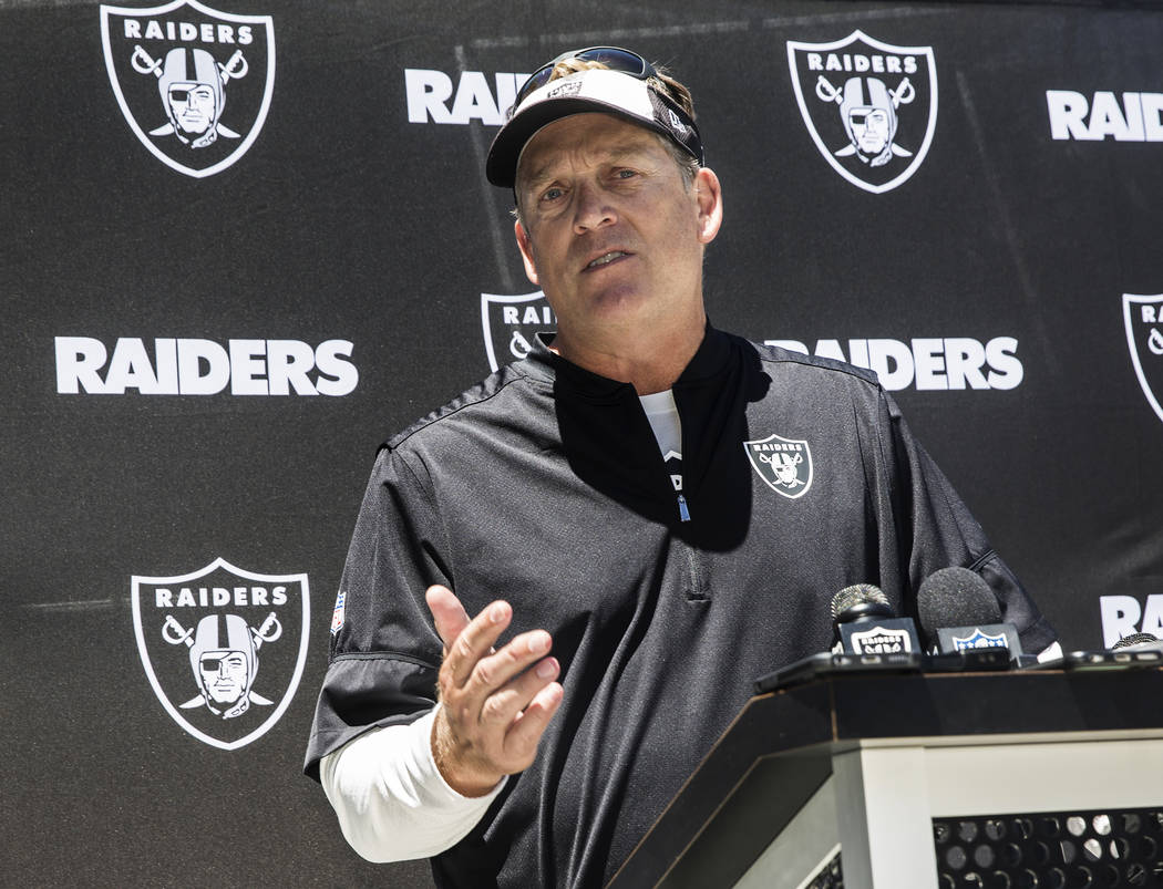 Oakland Raiders head coach Jack Del Rio takes questions from the media during rookie minicamp on Friday, May 5, 2017, at Oakland Raiders Headquarters, in Alameda, Calif. Benjamin Hager Las Vegas R ...