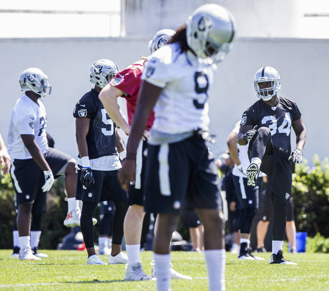 Raiders rookies stretch before the start of rookie minicamp on Friday, May 5, 2017, at Oakland Raiders Headquarters, in Alameda, Calif. Benjamin Hager Las Vegas Review-Journal @benjaminhphoto