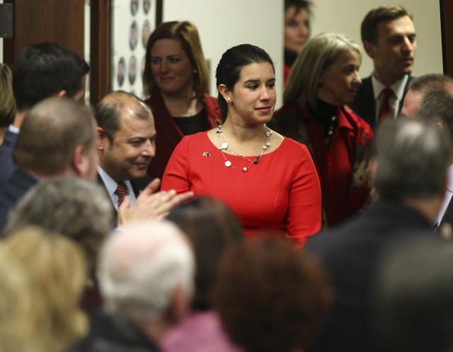 Nevada State Senator-elect Yvanna Cancela arrives for Nevada Gov. Brian Sandoval's final State of the State address at the Legislative Building in Carson City on Tuesday, Jan. 17, 2017. (Chase Ste ...