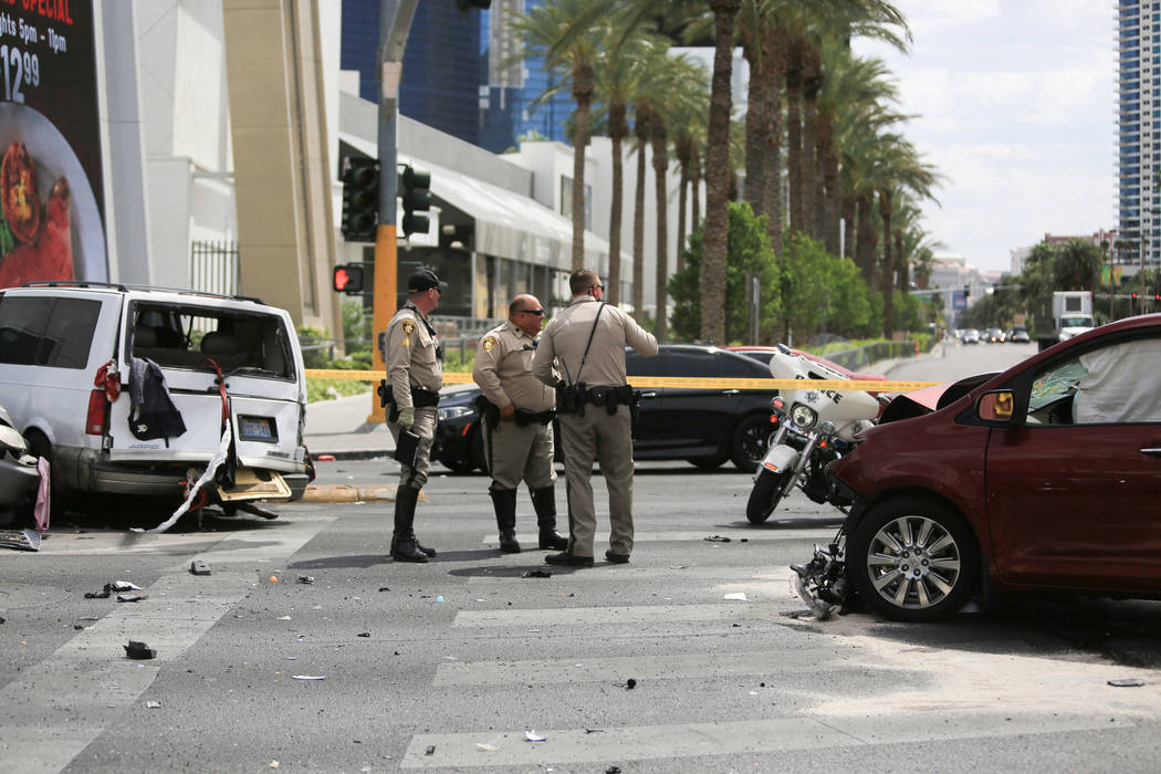 Police investigate a crash at the intersection of Sahara Avenue and Las Vegas Boulevard on the Las Vegas Strip, on Friday, May 5, 2017, in Las Vegas. Brett Le Blanc Las Vegas Review-Journal @blebl ...
