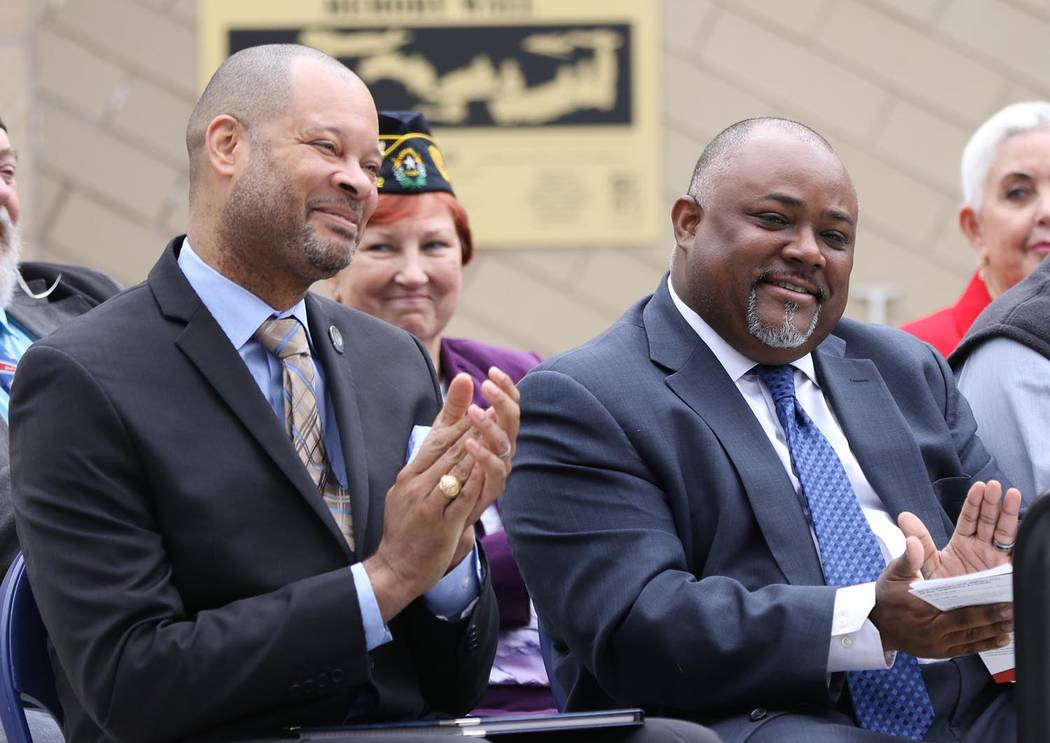 Photo provided by Nevada Governor's Office Senate Majority Leader Aaron Ford and Speaker of the Assembly Jason Frierson attend Veterans and Military Day at the Nevada Legislature in March.
