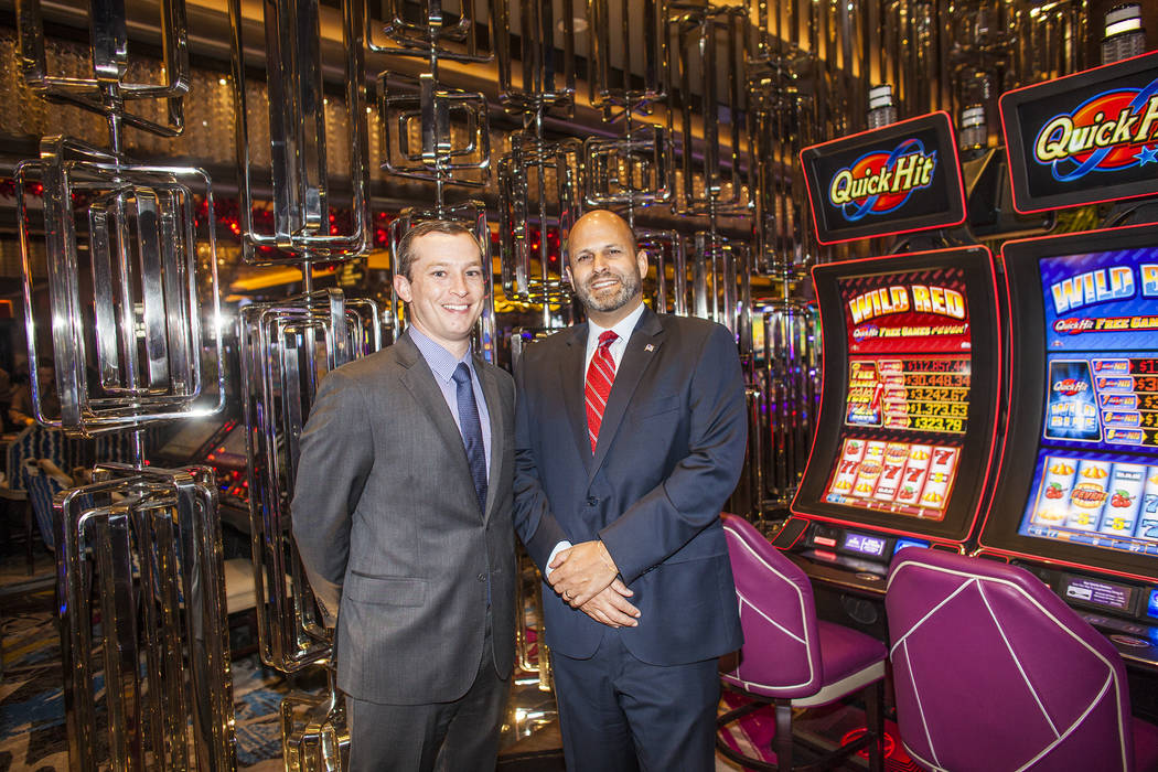 Kevin Sweet, vice president of slot operations, left, and Brian Benowitz, vice president of gaming operations, at The Cosmopolitan hotel-casino on Monday, May 8, 2017, in Las Vegas. Rachel Aston L ...