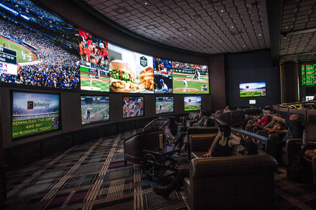 The Race & Sports Book at The Cosmopolitan hotel-casino on Monday, May 8, 2017, in Las Vegas. Before it was an area of slot machines, now it hosts the Race & Sports Book, with large T.V. s ...